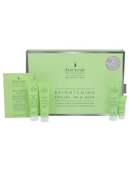"""<p>A brilliant brightening facial kit from famous women-only spa The Sanctuary, this contains everything from a hot cloth cleanser and moisture boosting mask to an illuminating moisture lotion which will leave your skin looking radiant and refreshed. Complete with a step-by-step diagram and top tips and techniques, who needs a therapist!? </p>  <p>£16, <a title=""""The Sanctuary at home brightening facial"""" target=""""_blank"""" href=""""http://www.thesanctuary.co.uk/brightening-facial-in-a-box-details.htm"""">the sanctuary.co.uk</a></p>"""