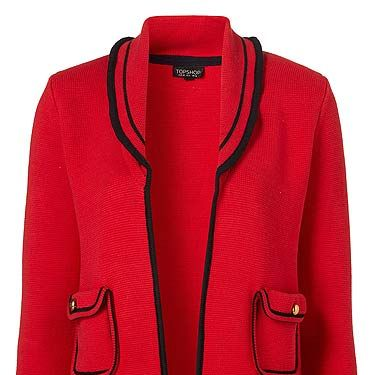 """<p>How perfect is this knitted jacket? We want it in our wardrobes, and now!</p><p>Jacket, £46, <a href=""""http://www.topshop.com/webapp/wcs/stores/servlet/ProductDisplay?beginIndex=0&viewAllFlag=&catalogId=33057&storeId=12556&productId=4443214&langId=-1&sort_field=Relevance&categoryId=208525&parent_categoryId=203984&pageSize=20"""" target=""""_blank"""">Topshop</a></p>"""