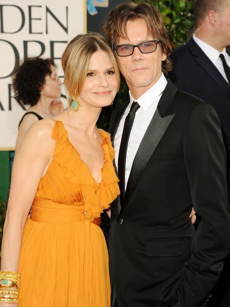 <p>Kyra Sedgwick and Kevin Bacon are one cool Hollywood couple. Kevin kept things slick in a tux and skinny black tie while Kyra worked an egg-yolk yellow dress with oodles of gold and turquoise jewellery </p>
