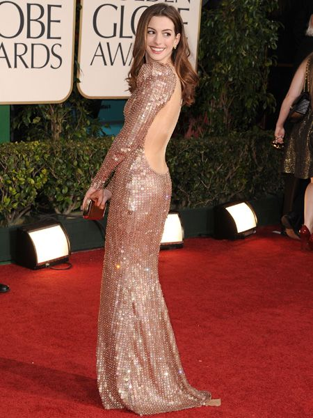 <p>Anne rocked one of the hottest trends of the night; the backless gown. Hers, by Armani Privé, made of sparkling flesh hued crystals was a sure-fire hit </p>