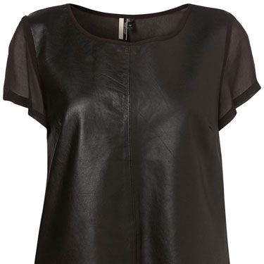 <p>A bold look for experimental fashionistas, this leather-look t-shirt with chiffon back would take on a new life when paired with bright colours</p>