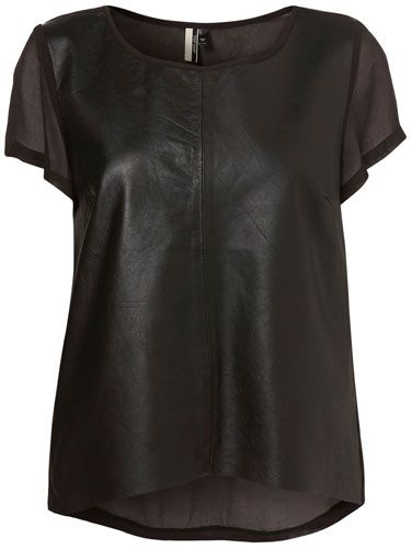 "<p>A bold look for experimental fashionistas, this leather-look t-shirt with chiffon back would take on a new life when paired with bright colours</p> <p>Black chiffon leather front tee, £45, <a href=""http://www.topshop.com/webapp/wcs/stores/servlet/ProductDisplay?beginIndex=0&viewAllFlag=&catalogId=33057&storeId=12556&productId=2180494"" target=""blank"">topshop.com</a></p>"