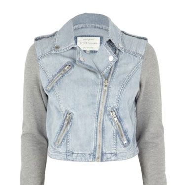 <p>Modernize your wardrobe with this jersey-sleeved denim jacket from River Island. With a sportswear inspired look, this fresh take on the denim jacket would be the ideal casual daytime cover-up</p>