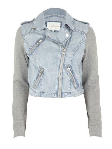 "<p>Modernize your wardrobe with this jersey-sleeved denim jacket from River Island. With a sportswear inspired look, this fresh take on the denim jacket would be the ideal casual daytime cover-up</p> <p>Denim biker jacket, £44.99, <a href=""http://www.riverisland.com/Online/women/coats--jackets/jackets/light-blue-denim-biker-jacket-598040"" target=""blank"">riverisland.com</a></p>"