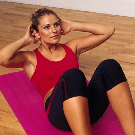 <p>1) Lie on the floor with your knees at a 45 degree angle and your feet flat. Put your hands behind your head. Imagine there's a magnet in your belly pulling your back down. </p><p>2) Lift from your shoulders, not your neck, contract, exhale at the top of the movement and inhale on the way back down</p>