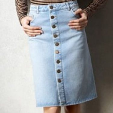 """<p>The 70s is back with a bang and if you're not ready to brave mega flares reach for this denim button-up skirt instead, new in at M&S</p><p>£35, <a href=""""http://www.marksandspencer.com/Limited-Collection-Cotton-Button-Through/dp/B004HB7FVU?ie=UTF8&ref=sr_1_5&nodeId=42966030&sr=1-5&qid=1297094500&pf_rd_r=0TBK890WGMJWA70VY7G1&pf_rd_m=A2BO0OYVBKIQJM&pf_rd_t=301&pf_rd_i=0&pf_rd_p=215485807&pf_rd_s=center-3"""" target=""""_blank"""">marksandspencer.com</a> </p>"""