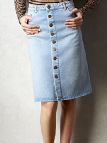"""<p>The 70s is back with a bang and if you're not ready to brave mega flares reach for this denim button-up skirt instead, new in at M&S</p>  <p>£35, <a href=""""http://www.marksandspencer.com/Limited-Collection-Cotton-Button-Through/dp/B004HB7FVU?ie=UTF8&ref=sr_1_5&nodeId=42966030&sr=1-5&qid=1297094500&pf_rd_r=0TBK890WGMJWA70VY7G1&pf_rd_m=A2BO0OYVBKIQJM&pf_rd_t=301&pf_rd_i=0&pf_rd_p=215485807&pf_rd_s=center-3"""" target=""""_blank"""">marksandspencer.com</a> </p>"""