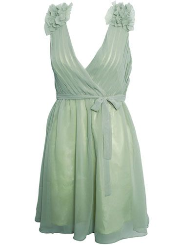 """<p>This minty chiffon dream is perfect for garden parties! Be sure to pair it with nudes and simple gold jewellery</p> <p>Ruffle shoulder chiffon dress, £35, <a href=""""http://www.rarefashion.co.uk/clothing/dresses/party-dresses/ruffle-shoulder-chiffon-dress.html"""" target=""""blank"""">rarefashion.co.uk</a></p>"""
