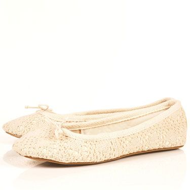 """<p>Treat your feet to these creamy crochet pumps from Topshop. They are the perfect pair to compliment your romantic skirts and dreamy dresses</p><p>Cream crochet ballet pumps, £18, <a href=""""http://www.rarefashion.co.uk/clothing/dresses/party-dresses/ruffle-shoulder-chiffon-dress.html"""" target=""""blank"""">topshop.com</a></p>"""
