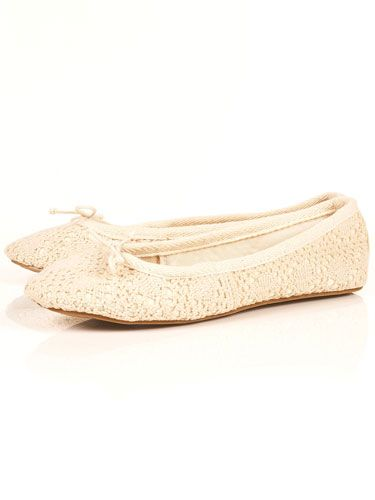 """<p>Treat your feet to these creamy crochet pumps from Topshop. They are the perfect pair to compliment your romantic skirts and dreamy dresses</p> <p>Cream crochet ballet pumps, £18, <a href=""""http://www.rarefashion.co.uk/clothing/dresses/party-dresses/ruffle-shoulder-chiffon-dress.html"""" target=""""blank"""">topshop.com</a></p>"""