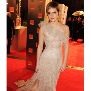 Harry Potter might have only been nominated for Special Visual Effects and Make up and Hair but Emma Watson looked every inch the winner in a nude and ivory Valentino gown. Scattered with lace and silk, it's got modern-day Victoriana all wrapped up