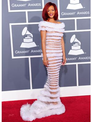 Wowing in white Ri Ri wore a trailing Jean Paul Gaultier gown. Though it barely covered her modesty it still managed to look chic