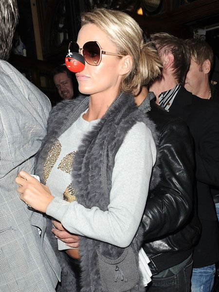 Katie Price's driver was involved in a minor car accident as the glamour model left the Phoenix theatre in central london after watching Blood Brothers. The star sported a Red Nose ahead of her Let's Dance performance for Comic Relief next month.