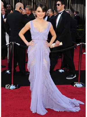 <p>Black Swan star Mila Kunis wore a super-feminine lavender chiffon gown by Elie Saab, a Bottega Veneta clutch and was dripping in diamonds courtesy of Neil Lane</p>