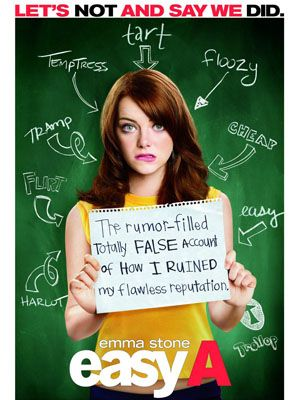 <p><strong>Easy A (Emma Stone, Amanda Bynes and Lisa Kudrow)</strong></p><p>Our girl crush de jour Emma Stone stars as Olive in this smarter-than- average teen comedy about a girl who gets popular seriously fast when she pretends to lose her virginity. Partially inspired by proper-serious novel The Scarlett Letter (but with a load more laughs thrown in), Olive fibs about losing her V-plates to a college guy, and when the rumour spreads around school, she takes the opportunity to help a bullied friend – by having very loud (pretend) sex with him at a party. What follows is the kind of hilarious daftness that can only occur in a high school movie but we loved every second of it. Perfect mates + munchies fodder.</p><p>Laura Macbeth</p>