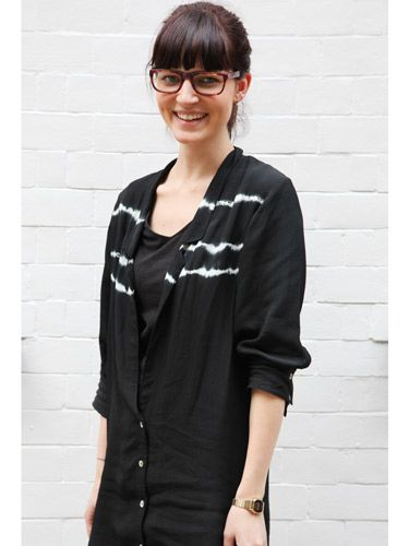 """<p>Break up a head-to-toe black outfit with some plum and orange tortoiseshell glasses.</p>  <p>Find out more about this <a href=""""http://ad-emea.doubleclick.net/clk;237626038;60905718;m""""target=""""_blank"""">style</a>.</p>"""