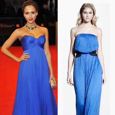 "<p>Queen of red carpet glamour. Jessica Alba looks stunning in a floor-length strapless gown from Versace. Copy her style in this cobalt blue maxi dress we found by Love Label. A-list worthy style for £59</p><p>£59, <a href=""http://www.very.co.uk/love-label-crochet-waist-maxi-dress/837534091.prd?browseToken=%2fb%2f1655%2fs%2fbestsellers%2c0%2fo%2f4%2fr%2f100&trail=1589-1655&prdToken=/p/prod6011608-sku9119283&aff=buyat&affsrc=home&cm_mmc=buyat-_-affiliate-_-na-_-deeplink
