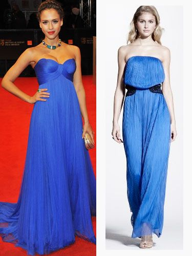 "<p>Queen of red carpet glamour. Jessica Alba looks stunning in a floor-length strapless gown from Versace. Copy her style in this cobalt blue maxi dress we found by Love Label. A-list worthy style for £59</p><p>£59, <a href=""http://www.very.co.uk/love-label-crochet-waist-maxi-dress/837534091.prd?browseToken=%2fb%2f1655%2fs%2fbestsellers%2c0%2fo%2f4%2fr%2f100&trail=1589-1655&prdToken=/p/prod6011608-sku9119283&aff=buyat&affsrc=home&cm_mmc=buyat-_-affiliate-_-na-_-deeplink ""target=""_blank""> very.co.uk </a></p>"