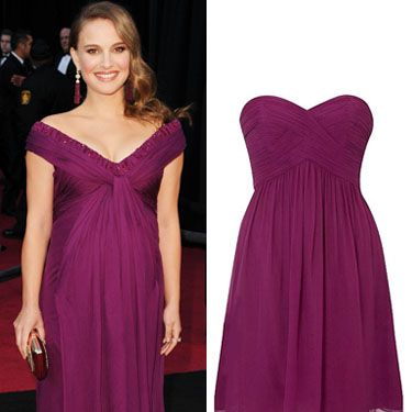 <p>The Black Swan actress looked beautiful in berry on the Oscars red carpet in a gown by Rodarte. Create her look at a snip of the price with this flattering Coast creation dress in a similar hue. Just gorgeous!</p><p>£95, 