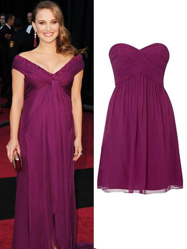 "<p>The Black Swan actress looked beautiful in berry on the Oscars red carpet in a gown by Rodarte. Create her look at a snip of the price with this flattering Coast creation dress in a similar hue. Just gorgeous!</p><p>£95,  <a href=""http://www.houseoffraser.co.uk/Coast+Tamara+dress/149340943,default,pd.html?cgid=301?cm_mmc=AWIN-_-Deeplink-_-NULL-_-NULL ""target=""_blank""> houseoffraser.co.uk </a></p>"