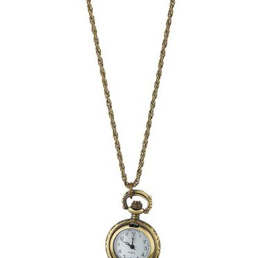 """<p>Who wears a watch these days!? Tell the time in style with Dorothy Perkins' gold engraved clocket necklace.</p><p>£18, <a href=""""http://www.dorothyperkins.com/webapp/wcs/stores/servlet/ProductDisplay?beginIndex=0&viewAllFlag=&catalogId=33053&storeId=12552&productId=2228992&langId=-1&sort_field=Relevance&categoryId=208724&parent_categoryId=208607&pageSize=20""""target=""""_blank""""> dorothyperkins.com </a></p>"""