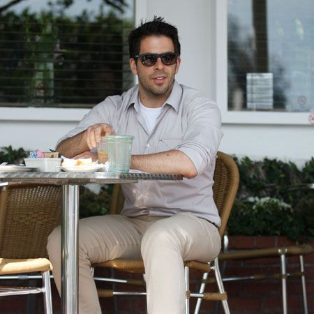 <p>We haven't heard much from Eli Roth since he split with Peaches Geldof. We wonder if news of the ITV2 presenter's latest incident has even made it over the pond to him? Here he is anyway - having a nice lunch in LA. We're jealous of the alfresco setting. Still a bit cold for that here.</p>