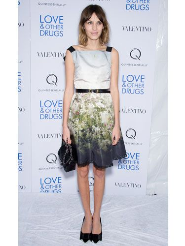 <p>Quirky style queen Alexa Chung is known for her trendy red carpet looks, and this Valentino number is another of her hits. Boasting a flattering 50s shape and romantic floral print, this dress is ticks all the boxes for the spring summer season</p>