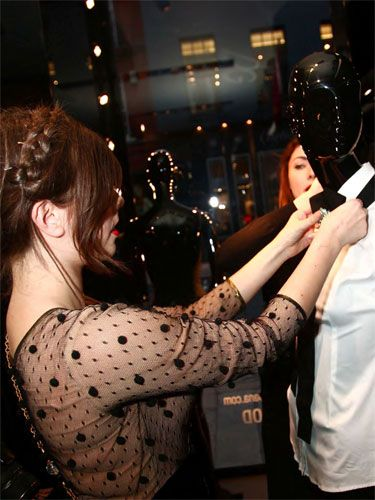 """The fabulous face behind <a href=""""http://www.wishwishwish.net""""target=""""_blank"""">wishwishwish.net</a> and Cosmo Blog Awards winner put a masculine edge to her window display choosing monochrome looks and a structured suit. She was accompanied by photographer pal and fellow fashion blogger of <a href=""""http://shinythoughts.net""""target=""""_blank"""">shinythoughts.net</a>"""