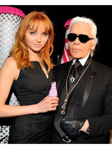 <p>Karl Lagerfeld's Diet Coke bottle launch party went off with a fashionable bang in Paris, with stars including Lily Cole and Lou Doillon joining the fashion designer on the roof of the Pompidou Centre. Lily Cole looked gorgeous in a form-fitting black dress and joined Kaiser Karl for a chat over a Diet Coke, bien sur! </p>
