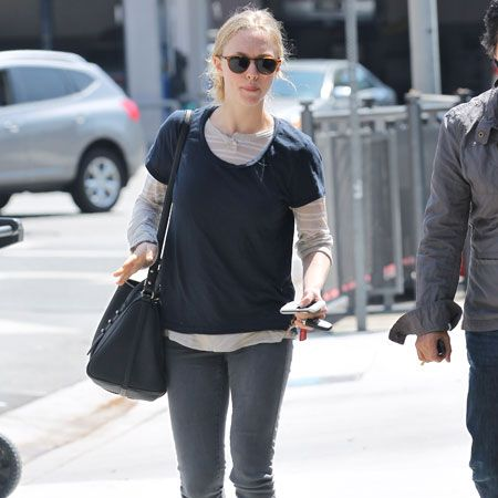 <p>She's going to be known for her 'Red Riding Hood' this year, but in real life Amanda Seyfried seems to like much more muted colours… The girlfriend of Ryan Philippe was spotted enjoying a dress-down day in Hollywood this week - always gorgeous</p>