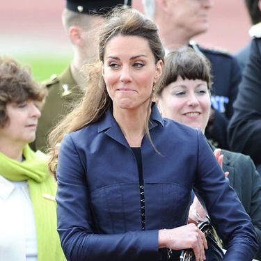 Here's Kate in an Amanda Wakeley suit visiting Witton Country Park in Lancashire