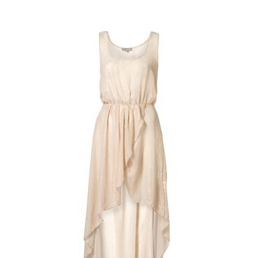 <p>Shimmer your way through the prom party in this stunning beige lurex dress from Topshop. Pair with a diamonte necklace big enough to catch your date's eye on the dance floor</p>
