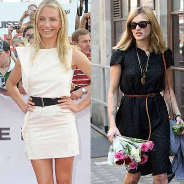 <p>Whether black or white, cinching it in is the best way to define that waist. Surfer girl Cam goes for a black belt to accent, while Fearne Cotton keeps things neutral with her thin leather belt</p>