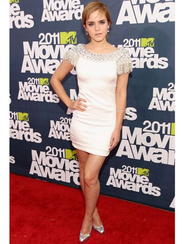 <p>Rocking the trend of the season in a LWD by Marchesa worn with metallic silver Brian Atwood heels, Emma looked perfectly at home in Hollywood</p>
