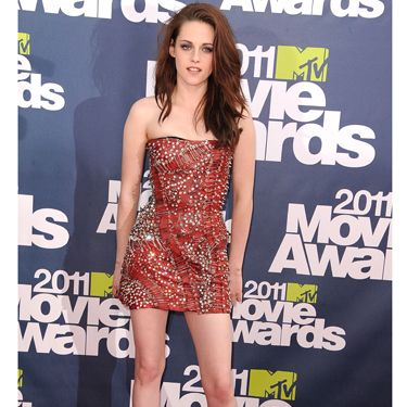 <p>The Twilight star went for super-sexy in a red embellished mini dress which stood out from the crowd</p>