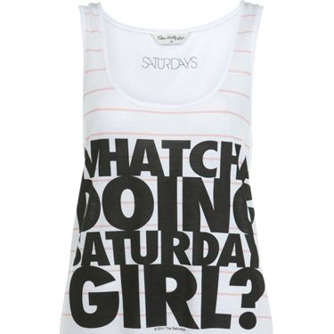 <p>Miss Selfridge has collaborated with The Saturdays on two cute t-shirts to celebrate the launch of girl group's new single I'm Notorious out this week. This printed vest will look super-cute with some denim bottoms for festival season</p>