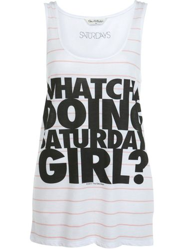"<p>Miss Selfridge has collaborated with The Saturdays on two cute t-shirts to celebrate the launch of girl group's new single I'm Notorious out this week. This printed vest will look super-cute with some denim bottoms for festival season</p>  <p>£22, <a href=""http://www.missselfridge.com/webapp/wcs/stores/servlet/ProductDisplay?beginIndex=0&viewAllFlag=&catalogId=33055&storeId=12554&productId=2484241&langId=-1&categoryId=&searchTerm=the%20saturdays&pageSize=40"">missselfridge.com</a></p>"