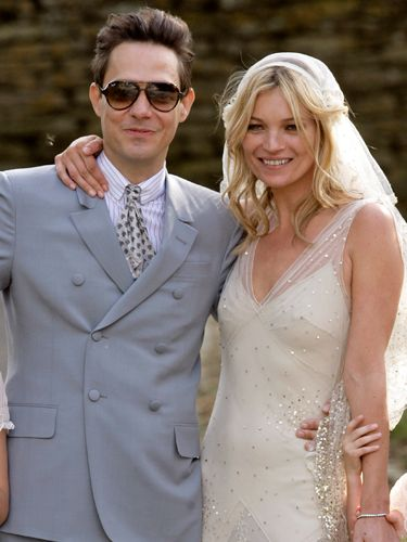 Kate Moss married Jamie Hince in a vintage-esque cream wedding dress by designer pal John Galliano. Her groom wore a Yves Saint Laurent suit. Following her nuptials, Kate posed to perfection for the awaiting paps
