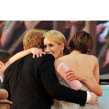 <p>It was an emotional evening as the Harry Potter cast and its author walked the red carpet in London's Trafalgar Square. There were tears as the book's creator hugged Rupert Grint and Emma Watson</p>