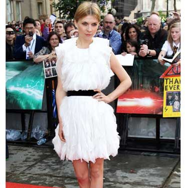 <p>Bringing a little French chic to the proceedings was Clemence Poesy who plays Fleur Delacour wearing ruffled Nina Ricci</p>
