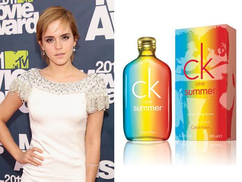 "<p>Harry Potter babe Emma Watson is the epitome of youthful beauty. If you look to Emma as your style icon, order yourself a fruity cocktail of ck one summer and spritz yourself with some of her zest!</p>  <p>The summer version of the cult unisex classic is fresh and funky – perfect for festivals and injecting some holiday spirit into your daily life.</p>   <p>£29/100ml, <a href=""http://www.amazon.co.uk/Calvin-Klein-CK-Summer-Toilette/dp/B004RG21DM"" target=""_blank"">amazon.co.uk</a></p>"