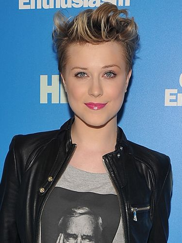 Evan Rachel Wood's crop is almost a quiff - she showed off her new style around the same time she got back together with her ex boyfriend Jamie Bell. Famous for aping the style of whoever she's with at the time - remember her gothic phase with Marilyn Manson? - perhaps Evan's hair is a tribute to Jamie's...