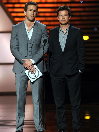 They're costars in comedy The Change-Up, set to be released later this summer, and Ryan Reynolds and Jason Bateman looked relaxed  - and rather tanned - as they took their turn on the stage to announce an award.