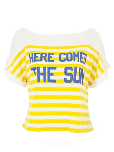 """<p>We think it's near  impossible not to fall head over heals for this cute summer tee </p> <p>Here comes the sun t-shirt, £25,  <a href=""""http://www.pretaportobello.com/shop/tops/tops/louche-here-comes-the-sun-tee.aspx"""" target=""""_blank"""">pretaportobello.com </a> </p>"""