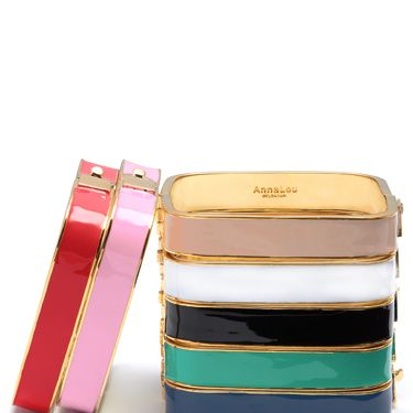 <p>Whoever said squares were boring? Wear these fab enamel bangles alone for a simple, sophisticated look, or stack them if you can't choose a favourite!</p>