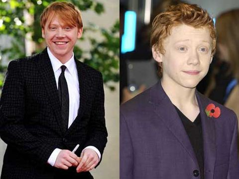 <p>Ginger haired Rupert Grint at the Harry Potter and the Chamber of Secrets back in 2002 was an adorable chubby cheeked kid. He's grown up into the strapping lad who captures Hermione's heart in Harry Potter and the Deathly Hallows Part 2 </p>