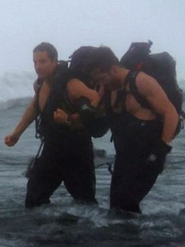 Bear Grylls and Jake Gyllenhaal got shirtless in icy waters as they faced the elements on the recent Discovery special. Survival expert Bear put Jake through his paces, just as he did with Will Ferrell in an earlier series. More shirtless Jake please!