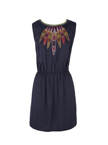 """<p>Rock in this bib detailed festival frock from Warehouse – simple, chic and cheap!</p><p>Now £30, Was £50,  <a href=""""http://www.warehouse.co.uk/feather-emb-shift-dress/All-Clothing/warehouse/fcp-product/304320 """"target=""""_blank""""> warehouse.co.uk </a></p>"""