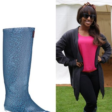 """<p>The songstress shows us that wellies don't have to be expensive to look great. Make a statement like Alexandra in this pair from George, 'cause leopard print is oh-so hot right now…</p><p>Barbara Hulanikci at George Wellies, £14, <a href=""""http://direct.asda.com/george/shoes/barbara-hulanicki-leopard-print-wellington-boots/GEM70474,default,pd.html""""target=""""_blank"""">george.com</a></p>"""