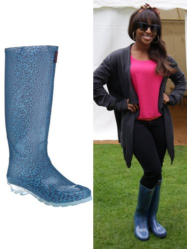 """<p>The songstress shows us that wellies don't have to be expensive to look great. Make a statement like Alexandra in this pair from George, 'cause leopard print is oh-so hot right now…</p>  <p>Barbara Hulanikci at George Wellies, £14, <a href=""""http://direct.asda.com/george/shoes/barbara-hulanicki-leopard-print-wellington-boots/GEM70474,default,pd.html""""target=""""_blank"""">george.com</a></p>"""
